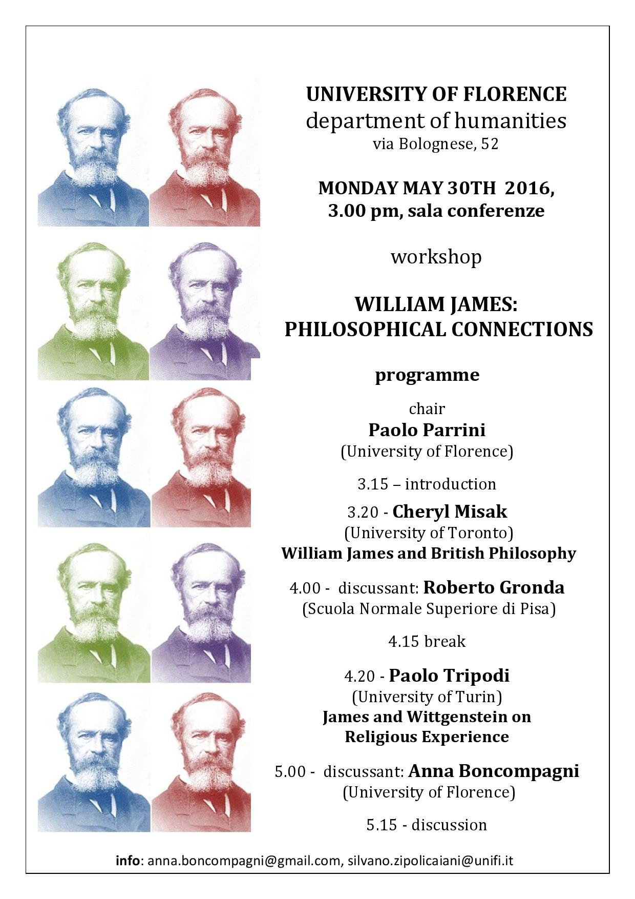Events - William James: Philosophical Connections, Florence, 30 May 2016